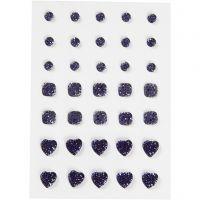 Strasstenen, rond, vierkant, hart, afm 6+8+10 mm, blauw, 35 stuk/ 1 doos