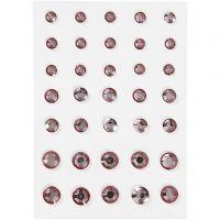 Strasstenen, ronde kegel, afm 6+8+10 mm, roze, 35 stuk/ 1 doos