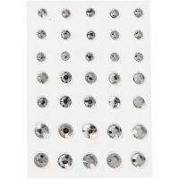 Strasstenen, ronde kegel, afm 6+8+10 mm, zilver, 35 stuk/ 1 doos