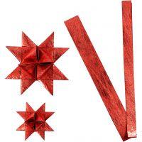 Papieren vlechtstroken, L: 44+78 cm, d: 6,5+11,5 cm, B: 15+25 mm, rood, 32 stroken/ 1 doos