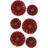 Rosettes, d: 35+50 mm, rood glitter, 6 stuk/ 1 doos