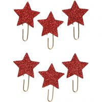 Paperclips, ster, d: 30 mm, rood glitter, 6 stuk/ 1 doos