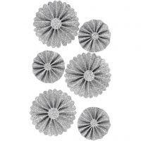 Rosettes, d: 35+50 mm, glitter zilver, 6 stuk/ 1 doos