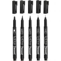 Permanente stift, lijndikte 2x0,6+2x0,8+1,3 mm, zwart, 5 stuk/ 1 doos