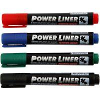 Power Liner, lijndikte 1,5-3 mm, zwart, blauw, groen, rood, 4 stuk/ 1 doos