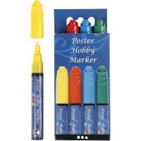 Poster Hobby Marker, lijndikte 3 mm, blauw, groen, rood, geel, 4 stuk/ 1 doos