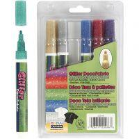 Deco Textielstiften, lijndikte 3 mm, glitterkleuren, 6 stuk/ 1 doos