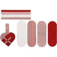 Gevlochten harten, afm 14,5x10 cm, 120 gr, rood, wit, 8 set/ 1 doos