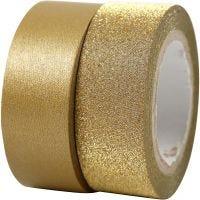 Masking tape, B: 15 mm, goud, 2 rol/ 1 doos