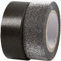 Masking tape, B: 15 mm, zwart, 2 rol/ 1 doos