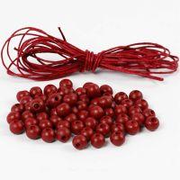Houten kralen en katoenkoord, d: 8 mm, rood, 1 set
