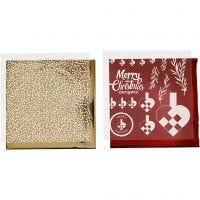 Deco folie en transfer vel, gevlochten harten, 15x15 cm, goud, rood, wit, 4 vel/ 1 doos