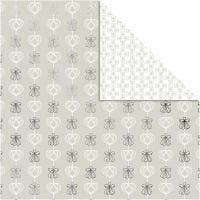 Design papier, engelen en harten, 30,5x30,5 cm, 180 gr, zilver, 3 vel/ 1 doos