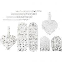 Gevlochten harten, afm 12,5x11,5 cm, 120 gr, zilver, wit, 8 set/ 1 doos