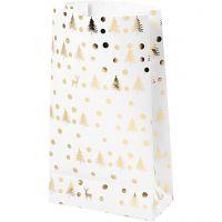 Papieren zakken, kerstboom met hert, H: 21 cm, afm 6x12 cm, goud, wit, 8 stuk/ 1 doos