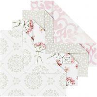 Origamipapier, afm 10x10 cm, 80 gr, groen, grijs, lichtrood, wit, 40 vel/ 1 doos