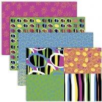 Decoupage papier, 25x35 cm, 17 gr, vrolijke kleuren, 4x2 vel/ 1 doos