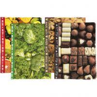 Decoupage papier - Assortiment, 25x35 cm, 17 gr, bruin, groen, geel, 8 div vellen/ 1 doos