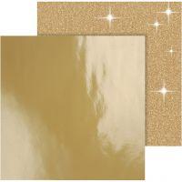 Design papier, 30,5x30,5 cm, 120+128 gr, goud, 2 vel/ 1 doos