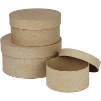 Ronde dozen, H: 5+6,5+7,5 cm, d: 10+13+16 cm, 3 stuk/ 1 set