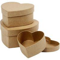 Harten dozen, H: 5+6,5+7,5 cm, d: 10+12,5+15 cm, 3 stuk/ 1 set
