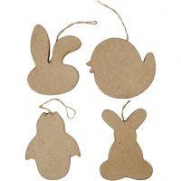 Paas decoraties, konijnenkop, kuiken, kuiken in ei en konijn, H: 10 cm, 4 stuk/ 1 doos