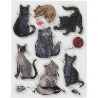 Silicone stempels, katten, afm 14x18 cm, 1 vel