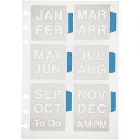 Sjabloon, maanden, 12,5x17,5 cm, 1 vel