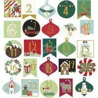 Stickers, adventcijfers, afm 40-54 mm, 120 gr, 25 stuk/ 1 doos