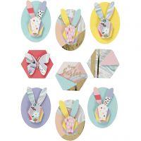 3D stickers, konijnen, H: 30-45 mm, B: 32-35 mm, 9 stuk/ 1 doos