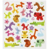 Stickers, ballon dieren, 15x16,5 cm, 1 vel