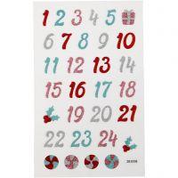 Glitter stickers, advent cijfers, 10x16 cm, 1 vel