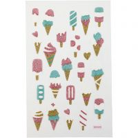 Glitter stickers, ijsjes, 10x16 cm, 1 vel