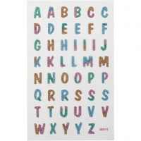 Glitter stickers, letters, 10x16 cm, 1 vel