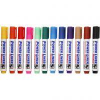 Whiteboard stiften, lijndikte 4 mm, diverse kleuren, 12 stuk/ 1 doos