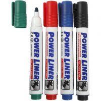 Whiteboard stiften, lijndikte 4 mm, zwart, blauw, groen, rood, 4 stuk/ 1 doos