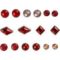 Deco brads, afm 8-18 mm, rood, 16 stuk/ 1 doos