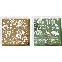 Deco folie en transfervel, bloemen, 15x15 cm, goud, groen, 2x2 vel/ 1 doos