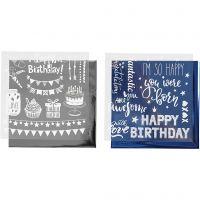 Deco folie en transfervel, verjaardag, 15x15 cm, donkerblauw, zilver, 2x2 vel/ 1 doos