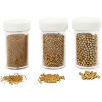 Mini stenen van glas, afm 0,6-0,8+1,5-2+3 mm, goud, 3x45 gr/ 1 doos