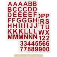 Rub-on Sticker , letters en cijfers, H: 17 mm, 12,2x15,3 cm, rood, 1 doos