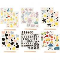 Rub-on Sticker , 12,2x15,3 cm, 12 vel/ 1 doos