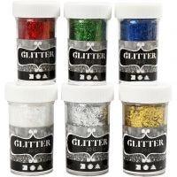 Glitter Fibers , metallic kleuren, 6x20 gr/ 1 doos