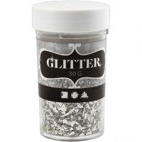 Glitter, afm 1-3 mm, zilver, 30 gr/ 1 Doosje