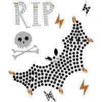 Stickers met strasstenen, vleermuis en RIP, 14x17 cm, 1 vel