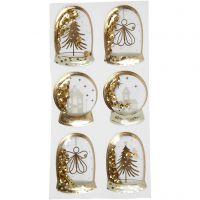 Shaker stickers, engel, boom en huizen, afm 49x32+45x36 mm, goud, 6 stuk/ 1 doos