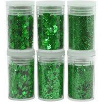Glitter en pailletten, groen, 6x5 gr/ 1 doos