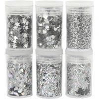 Glitter en pailletten, zilver, 6x5 gr/ 1 doos