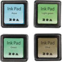 Stempelinkt, H: 2 cm, afm 3,5x3,5 cm, groen, lichtgroen, olijf, aqua, 4 stuk/ 1 doos
