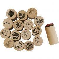 Deco Art Stempels, bloemen en bladeren, H: 26 mm, d: 20 mm, 15 stuk/ 1 doos